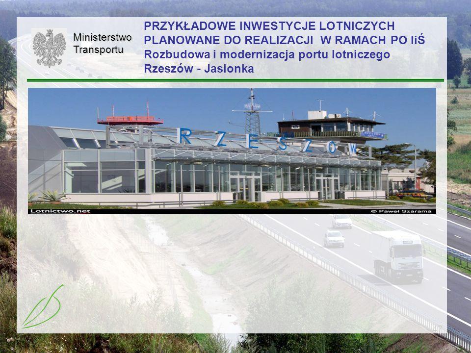 PRZYKŁADOWE INWESTYCJE LOTNICZYCH PLANOWANE DO REALIZACJI W RAMACH PO IiŚ Rozbudowa i modernizacja portu lotniczego Rzeszów - Jasionka