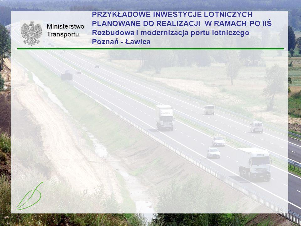 PRZYKŁADOWE INWESTYCJE LOTNICZYCH PLANOWANE DO REALIZACJI W RAMACH PO IiŚ Rozbudowa i modernizacja portu lotniczego Poznań - Ławica