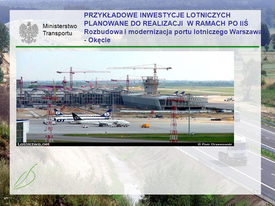 PRZYKŁADOWE INWESTYCJE LOTNICZYCH PLANOWANE DO REALIZACJI W RAMACH PO IiŚ Rozbudowa i modernizacja portu lotniczego Warszawa - Okęcie