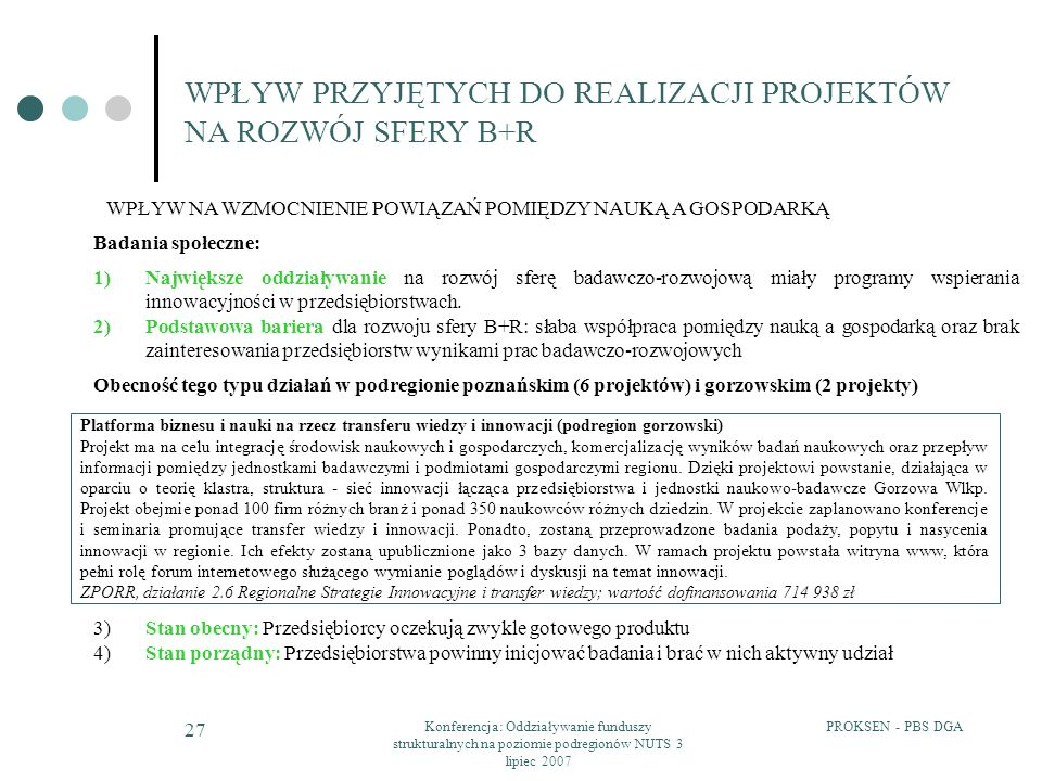 WPŁYW PRZYJĘTYCH DO REALIZACJI PROJEKTÓW NA ROZWÓJ SFERY B+R