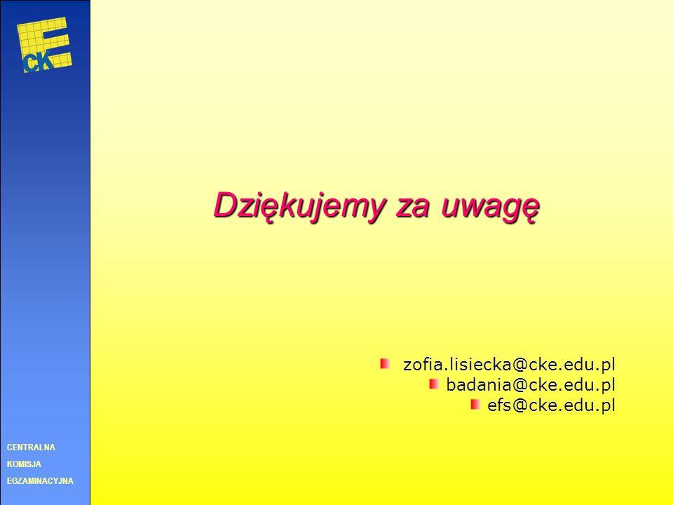 Dziękujemy za uwagę zofia.lisiecka@cke.edu.pl badania@cke.edu.pl