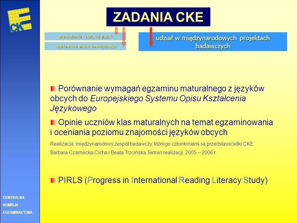 CENTRALNA KOMISJA. EGZAMINACYJNA. ZADANIA CKE. prowadzenie i zlecanie badań. udział w międzynarodowych projektach badawczych.
