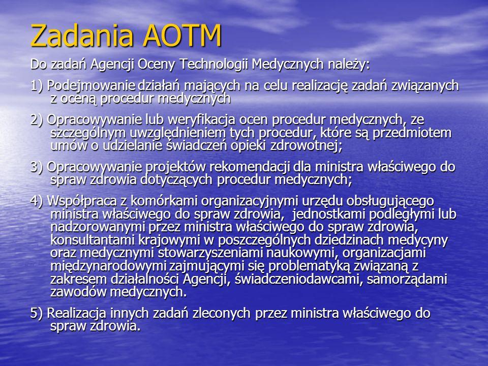 Zadania AOTM Do zadań Agencji Oceny Technologii Medycznych należy: