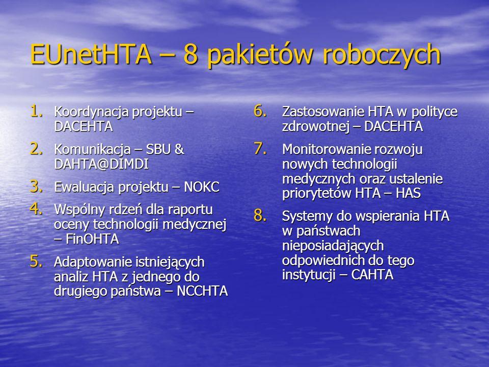 EUnetHTA – 8 pakietów roboczych