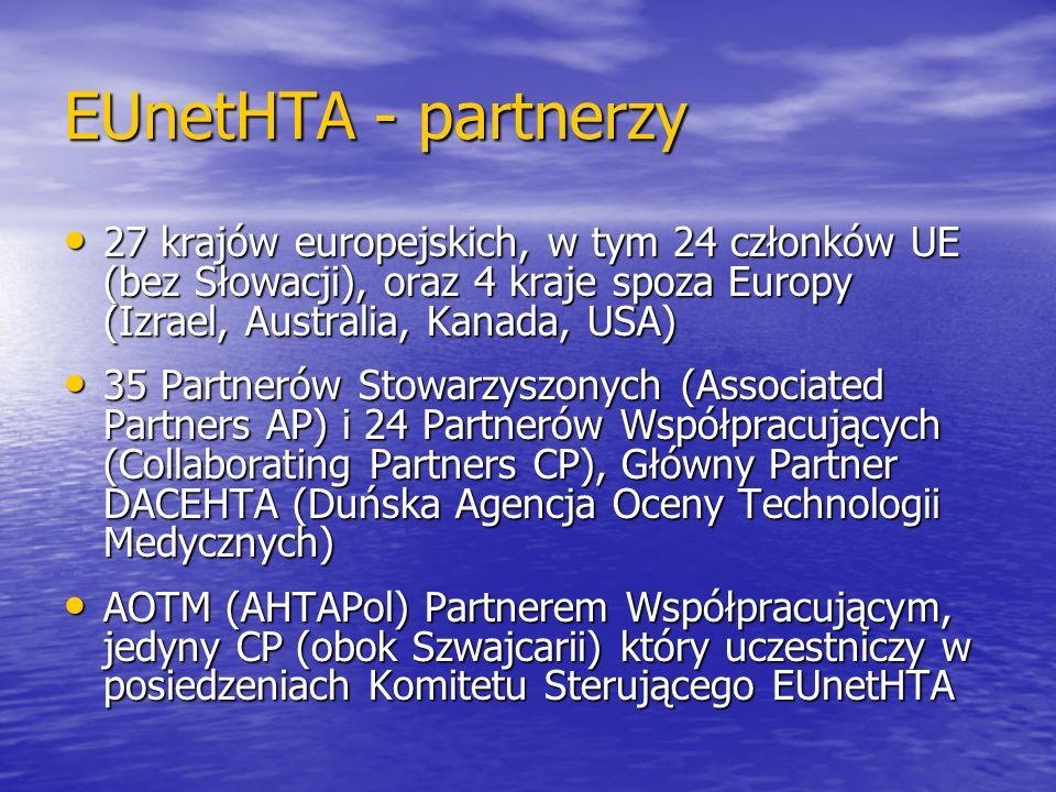 EUnetHTA - partnerzy 27 krajów europejskich, w tym 24 członków UE (bez Słowacji), oraz 4 kraje spoza Europy (Izrael, Australia, Kanada, USA)