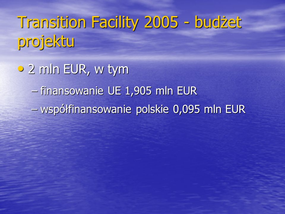 Transition Facility 2005 - budżet projektu