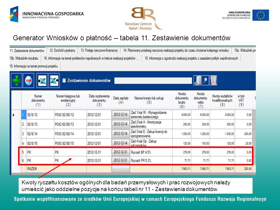 Generator Wniosków o płatność – tabela 11. Zestawienie dokumentów