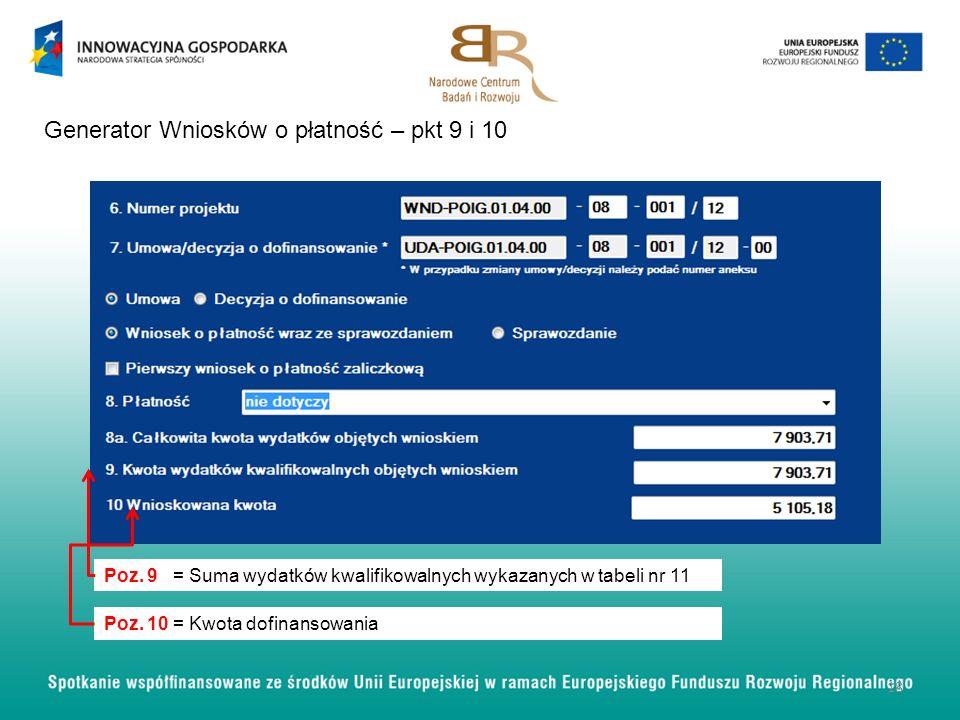 Generator Wniosków o płatność – pkt 9 i 10