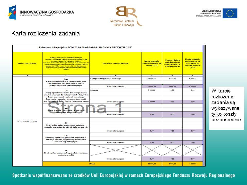 Karta rozliczenia zadania