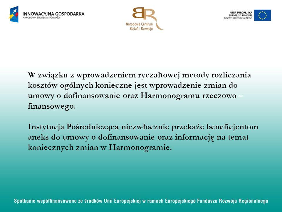 W związku z wprowadzeniem ryczałtowej metody rozliczania kosztów ogólnych konieczne jest wprowadzenie zmian do umowy o dofinansowanie oraz Harmonogramu rzeczowo – finansowego.