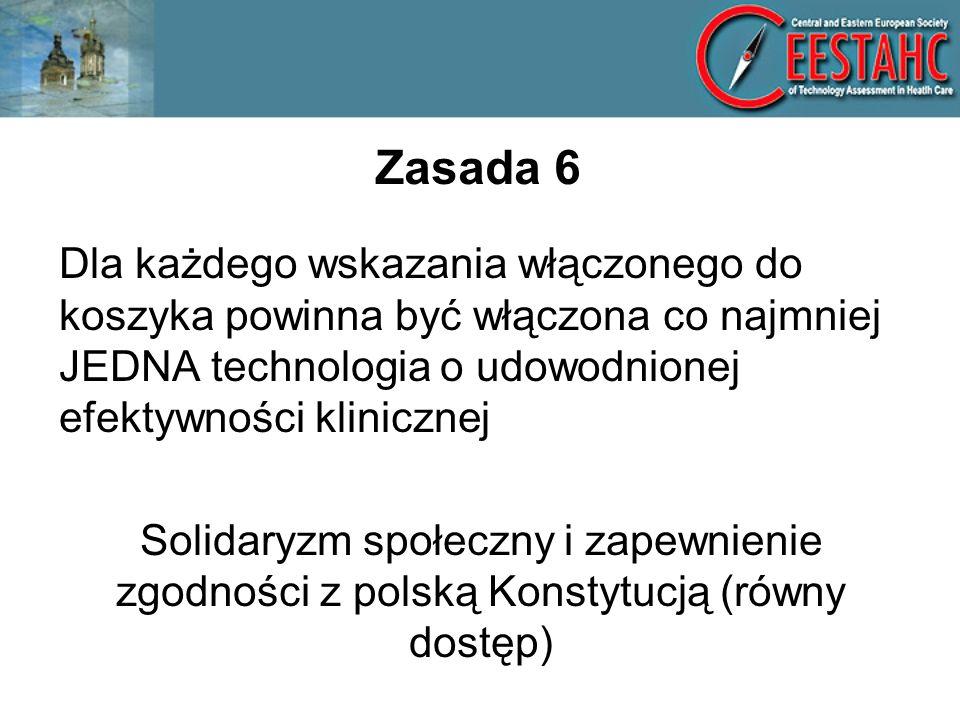 Zasada 6 Dla każdego wskazania włączonego do koszyka powinna być włączona co najmniej JEDNA technologia o udowodnionej efektywności klinicznej.