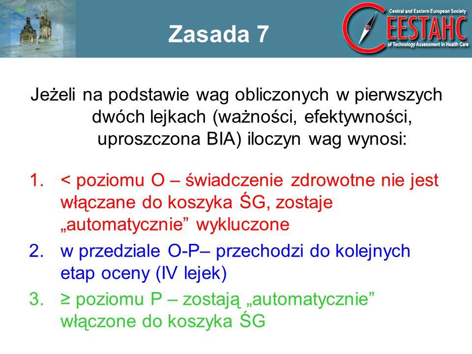 Zasada 7 Jeżeli na podstawie wag obliczonych w pierwszych dwóch lejkach (ważności, efektywności, uproszczona BIA) iloczyn wag wynosi:
