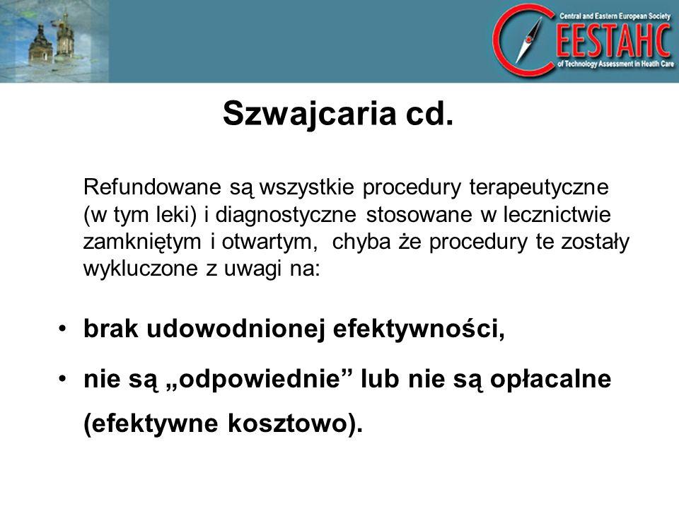 Szwajcaria cd. brak udowodnionej efektywności,