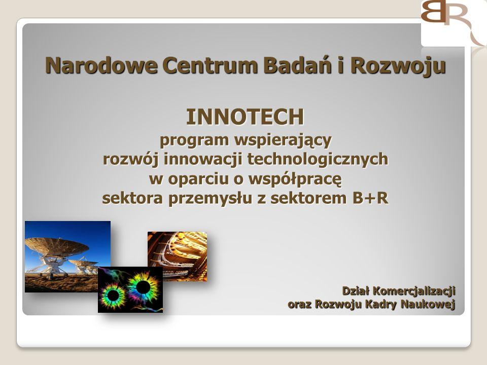 Narodowe Centrum Badań i Rozwoju INNOTECH program wspierający rozwój innowacji technologicznych w oparciu o współpracę sektora przemysłu z sektorem B+R