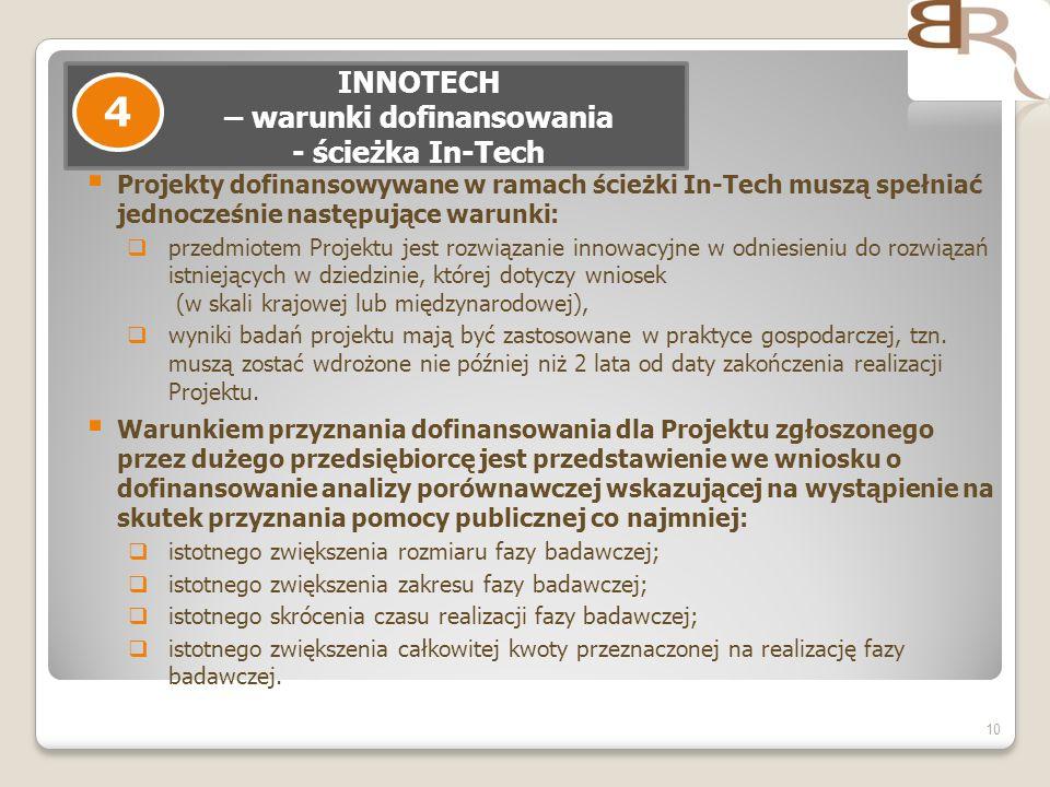 INNOTECH – warunki dofinansowania - ścieżka In-Tech
