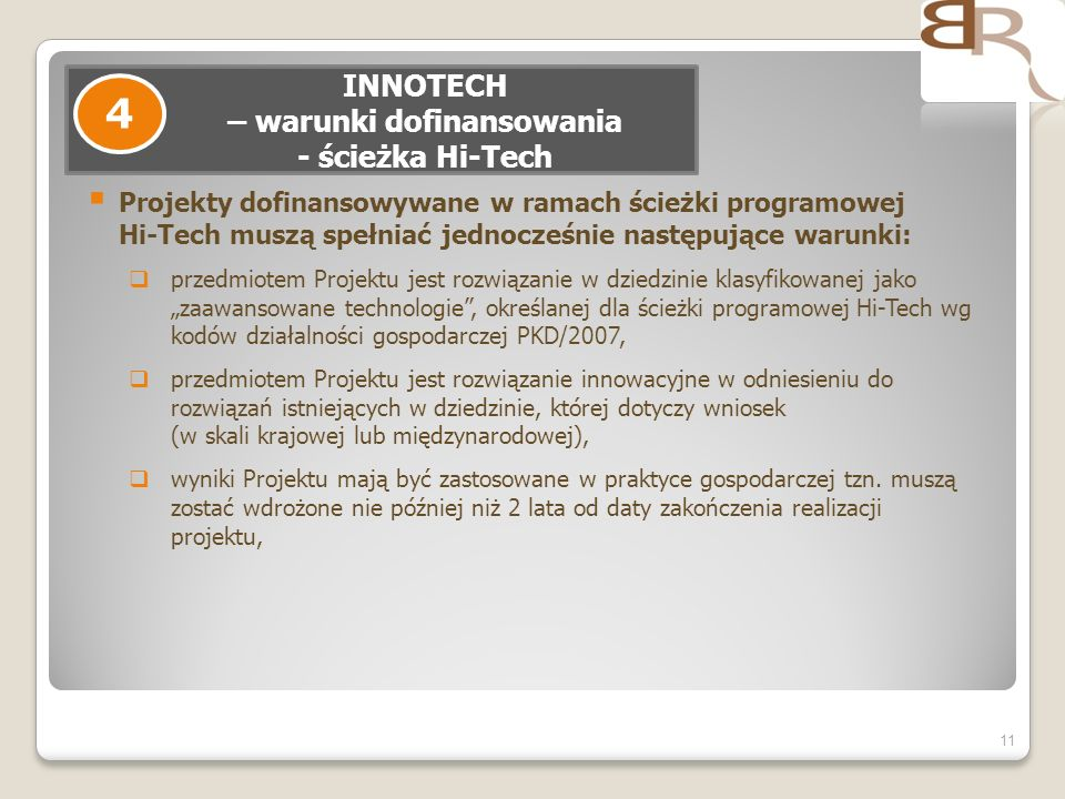 INNOTECH – warunki dofinansowania - ścieżka Hi-Tech