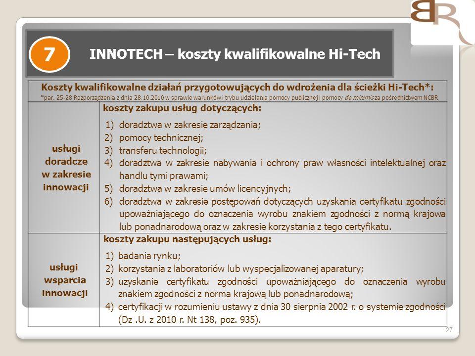 INNOTECH – koszty kwalifikowalne Hi-Tech