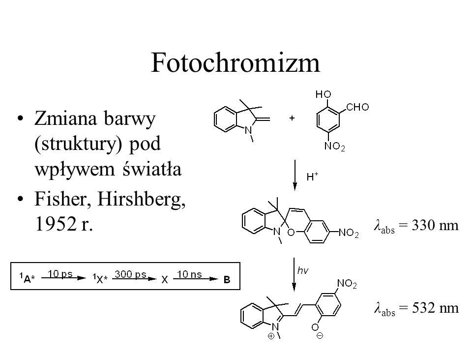 Fotochromizm Zmiana barwy (struktury) pod wpływem światła