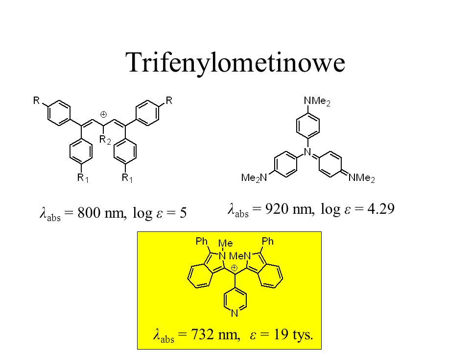 Trifenylometinowe λabs = 920 nm, log ε = 4.29 λabs = 800 nm, log ε = 5