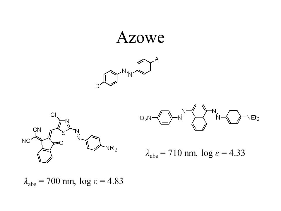 Azowe λabs = 710 nm, log ε = 4.33 λabs = 700 nm, log ε = 4.83