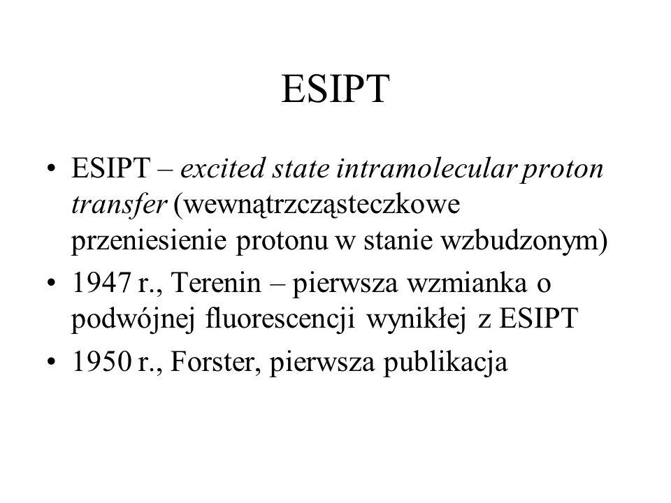 ESIPT ESIPT – excited state intramolecular proton transfer (wewnątrzcząsteczkowe przeniesienie protonu w stanie wzbudzonym)