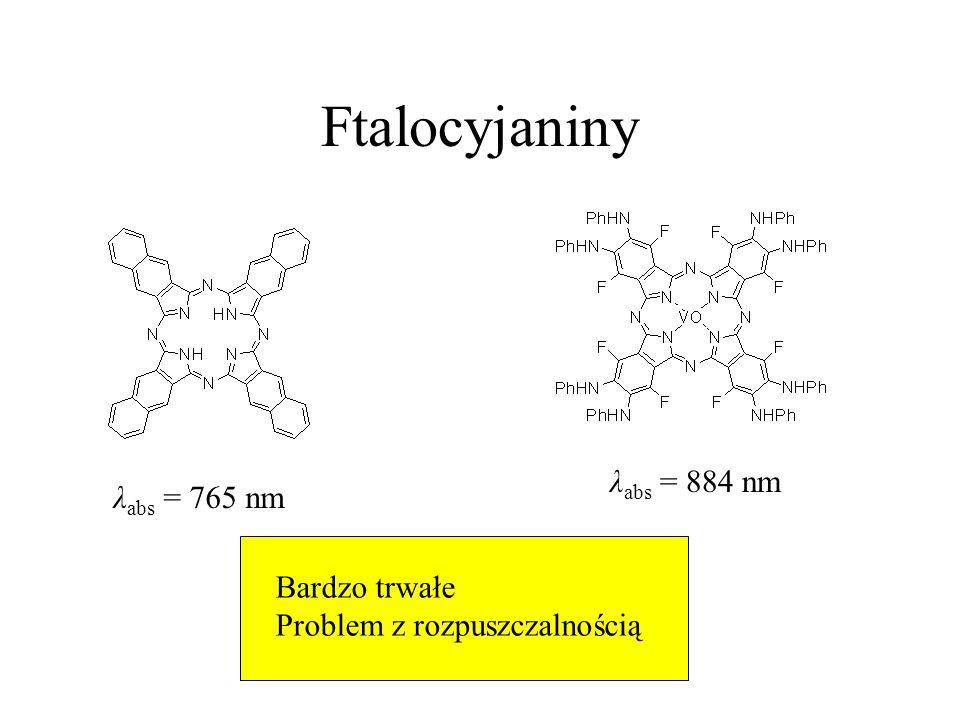 Ftalocyjaniny λabs = 884 nm λabs = 765 nm Bardzo trwałe