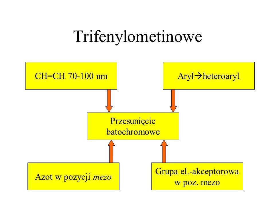 Trifenylometinowe Arylheteroaryl CH=CH 70-100 nm Przesunięcie