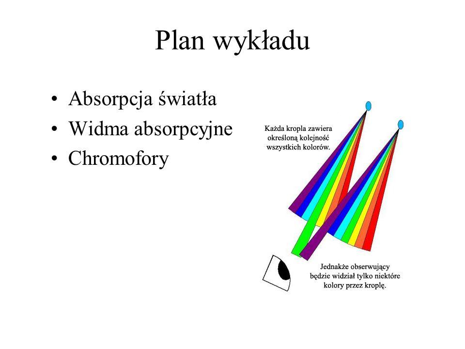 Plan wykładu Absorpcja światła Widma absorpcyjne Chromofory