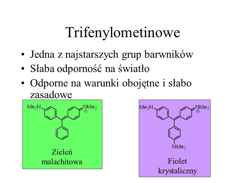 Trifenylometinowe Jedna z najstarszych grup barwników