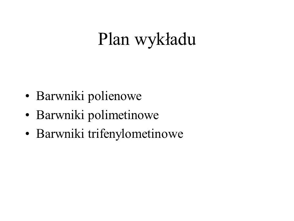 Plan wykładu Barwniki polienowe Barwniki polimetinowe