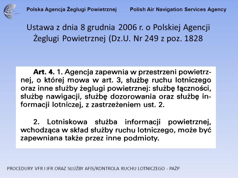Ustawa z dnia 8 grudnia 2006 r. o Polskiej Agencji Żeglugi Powietrznej (Dz.U. Nr 249 z poz. 1828