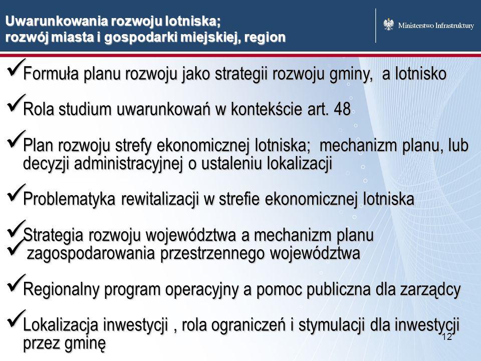 Formuła planu rozwoju jako strategii rozwoju gminy, a lotnisko