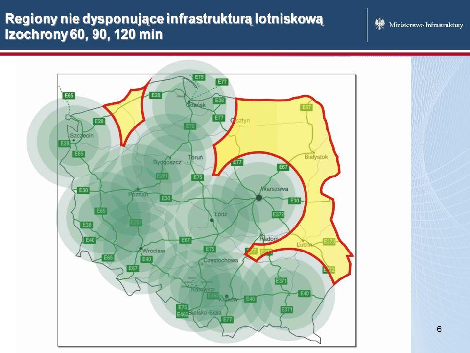 Regiony nie dysponujące infrastrukturą lotniskową