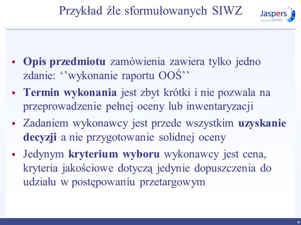 Przykład źle sformułowanych SIWZ