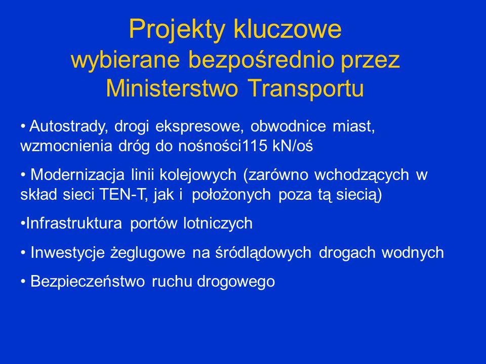 Projekty kluczowe wybierane bezpośrednio przez Ministerstwo Transportu