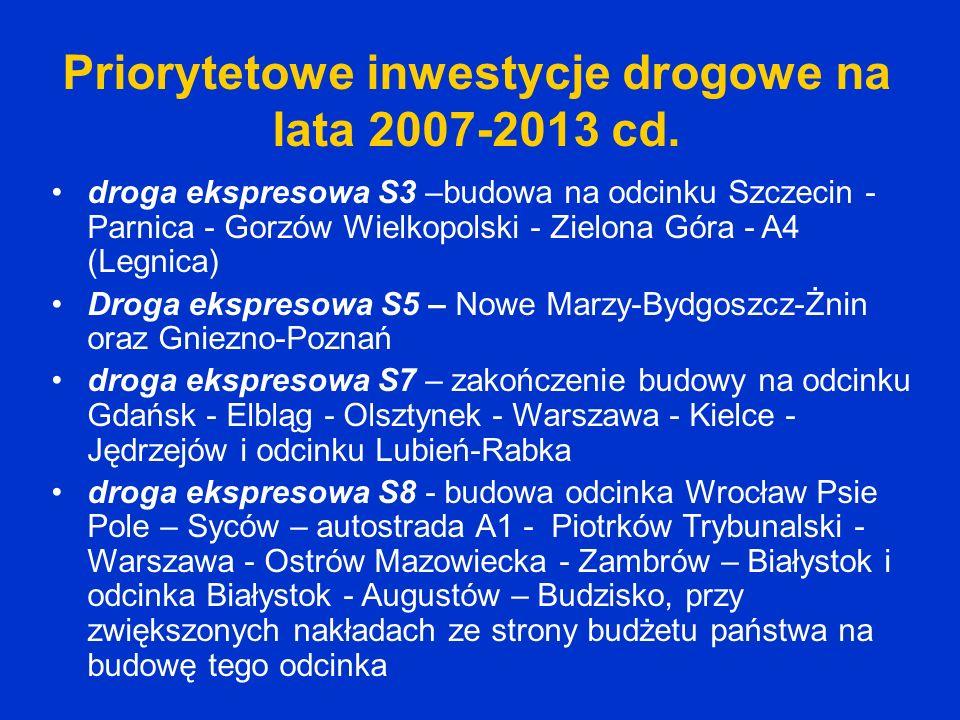 Priorytetowe inwestycje drogowe na lata 2007-2013 cd.