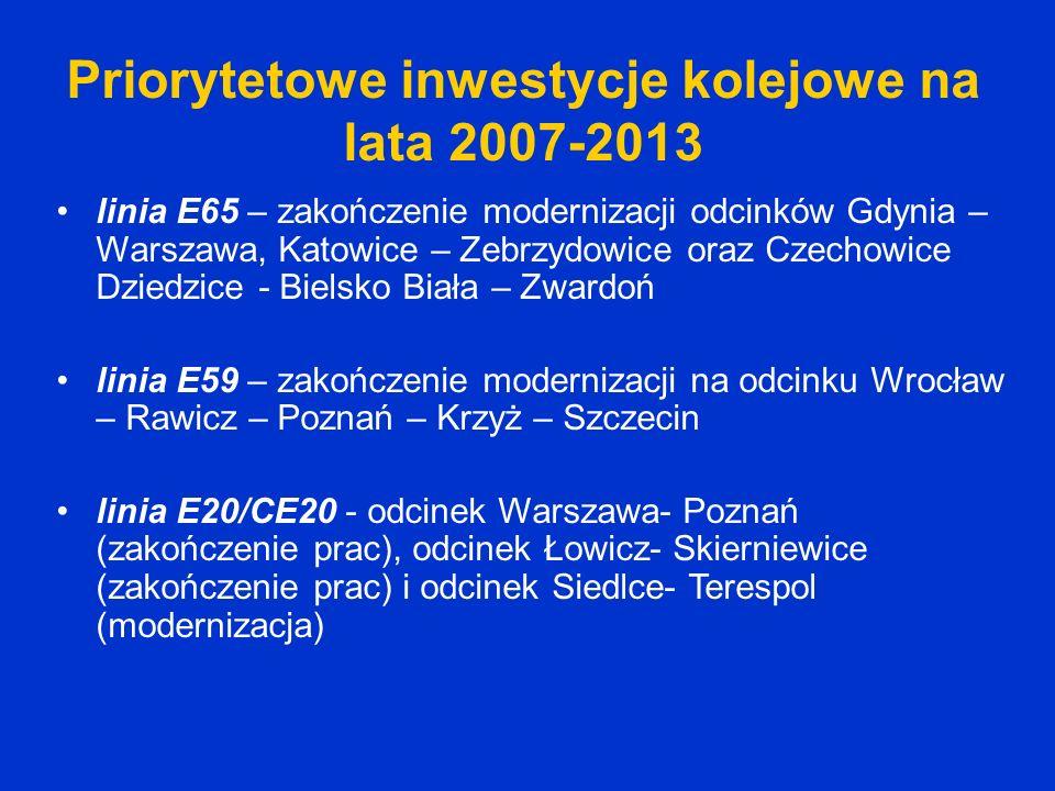 Priorytetowe inwestycje kolejowe na lata 2007-2013