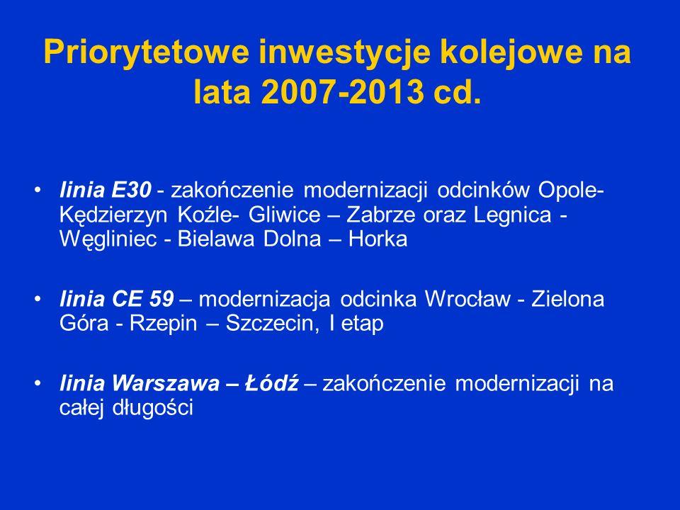 Priorytetowe inwestycje kolejowe na lata 2007-2013 cd.