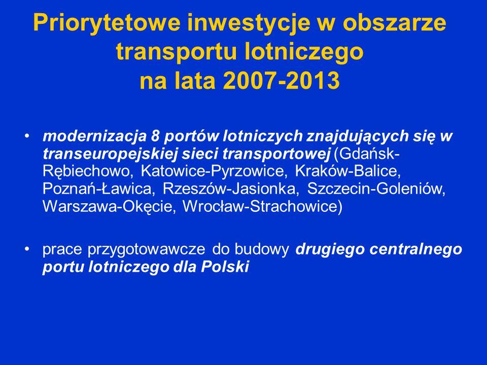 Priorytetowe inwestycje w obszarze transportu lotniczego na lata 2007-2013