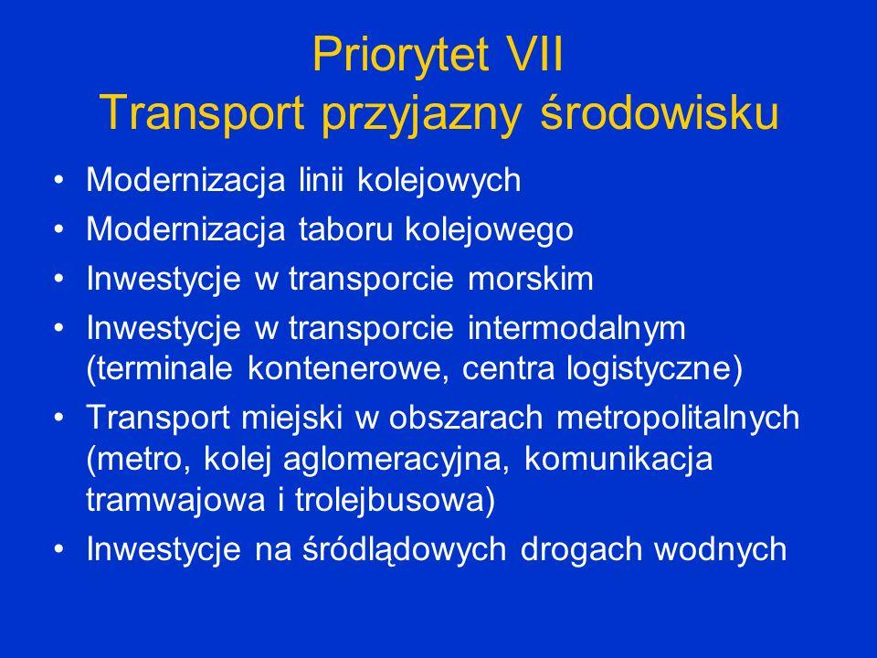 Priorytet VII Transport przyjazny środowisku