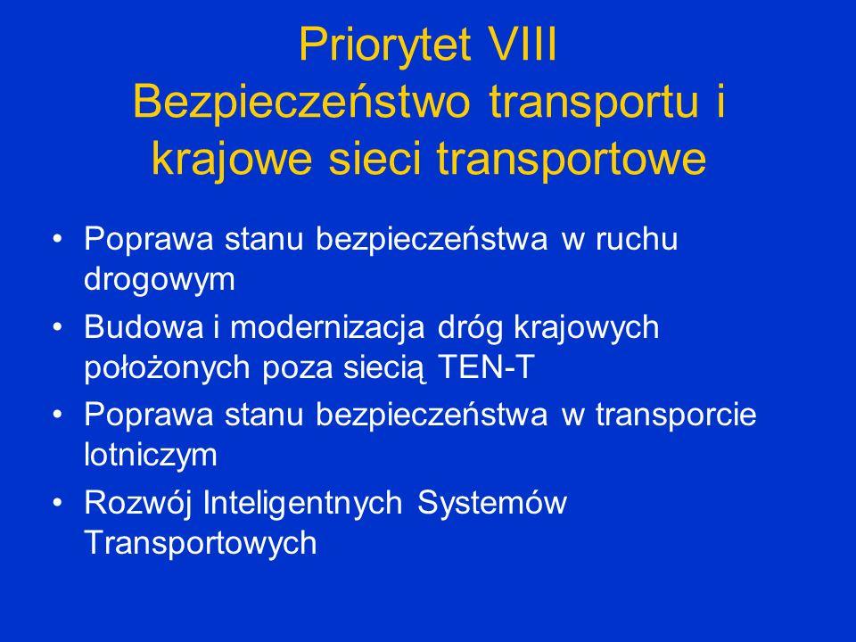 Priorytet VIII Bezpieczeństwo transportu i krajowe sieci transportowe