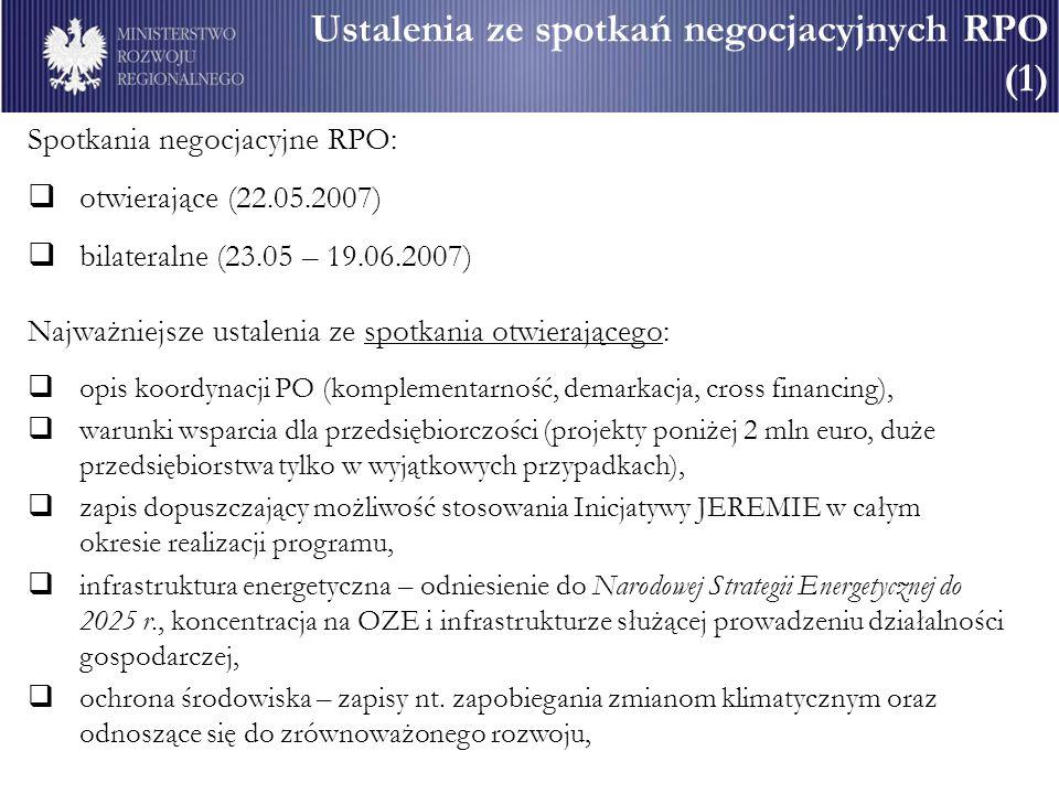 Ustalenia ze spotkań negocjacyjnych RPO (1)
