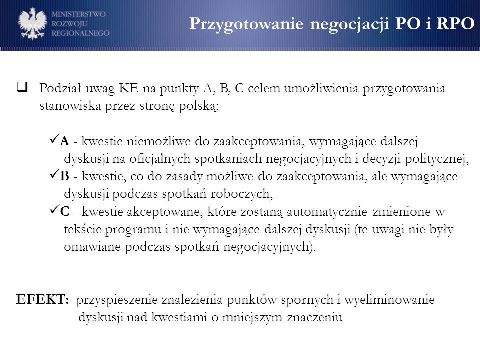 Przygotowanie negocjacji PO i RPO