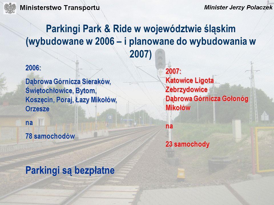 Parkingi Park & Ride w województwie śląskim (wybudowane w 2006 – i planowane do wybudowania w 2007)