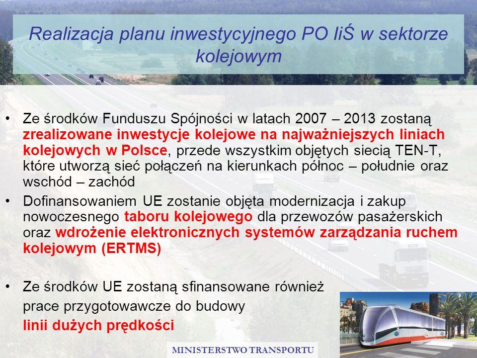 Realizacja planu inwestycyjnego PO IiŚ w sektorze kolejowym