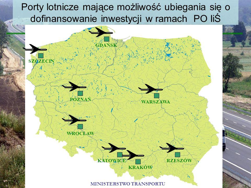 Porty lotnicze mające możliwość ubiegania się o dofinansowanie inwestycji w ramach PO IiŚ