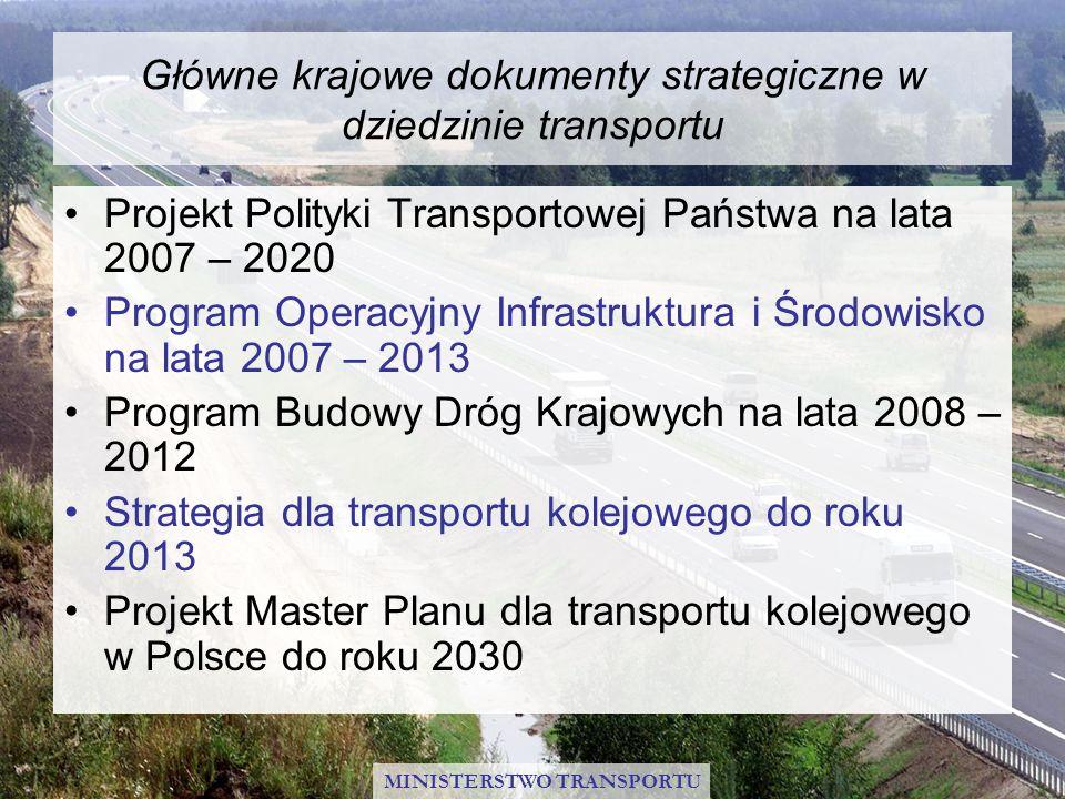 Główne krajowe dokumenty strategiczne w dziedzinie transportu