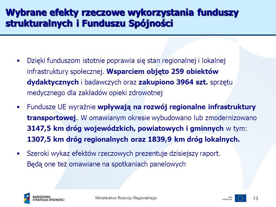 Wybrane efekty rzeczowe wykorzystania funduszy strukturalnych i Funduszu Spójności