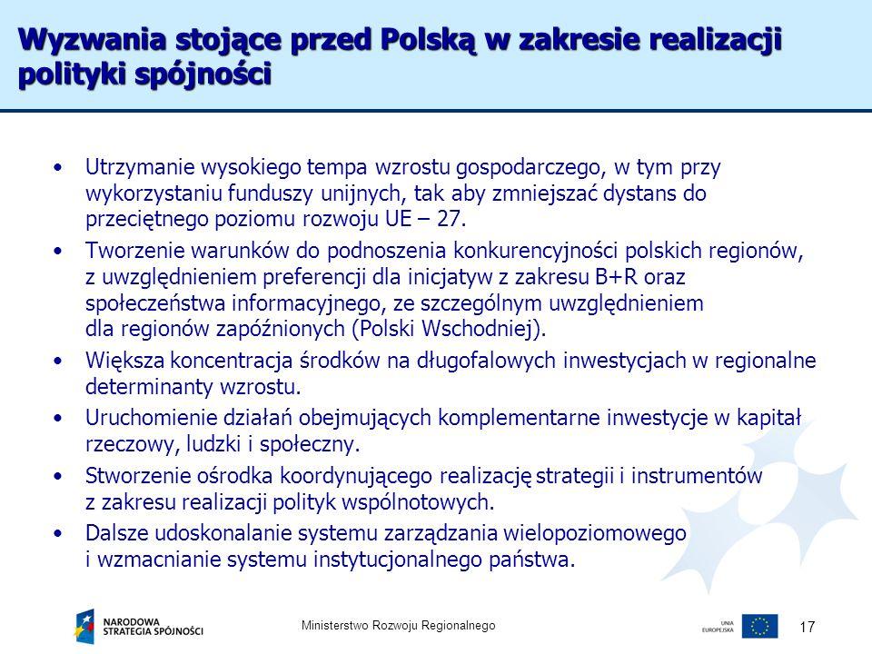 Wyzwania stojące przed Polską w zakresie realizacji polityki spójności