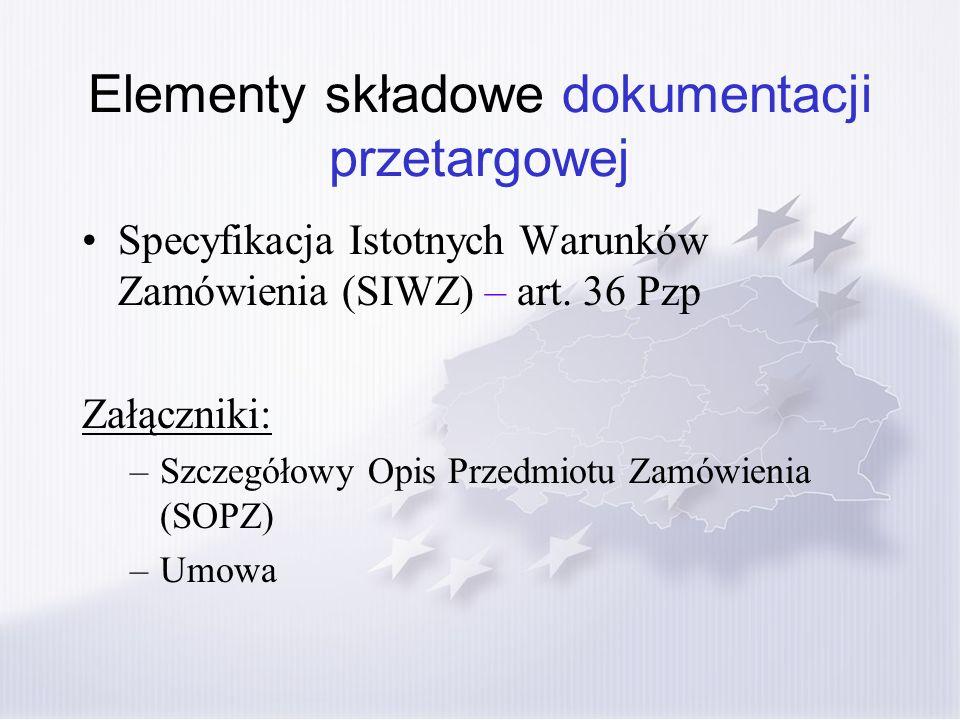 Elementy składowe dokumentacji przetargowej